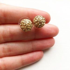 "Gold & diamond bauble ""disco ball"" stud earrings"